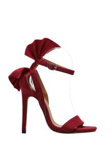 Ankle Strap Mini Heel Flower Sandals - Red