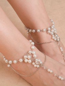 Artificial Pearl Beaded Chain Anklet - Silver