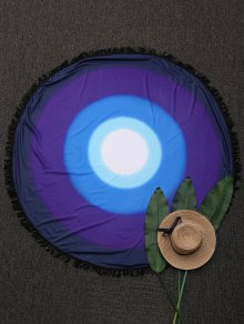 Round Ombre Fringed Beach Throw