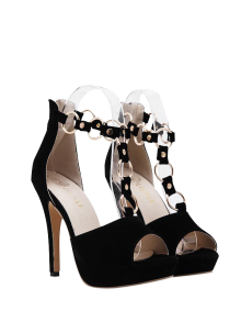 Metal Rings Peep Toe Zipper Sandals - Black 38