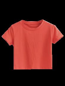 Short Sleeve Mock Neck Cropped Tee - Jacinth M