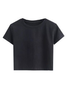 Short Sleeve Mock Neck Cropped Tee - Black M