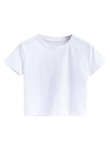 Short Sleeve Mock Neck Cropped Tee - White M