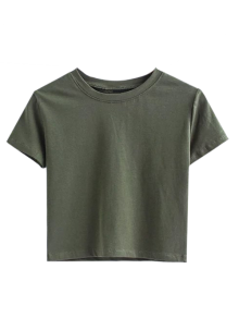 Short Sleeve Mock Neck Cropped Tee - Army Green M