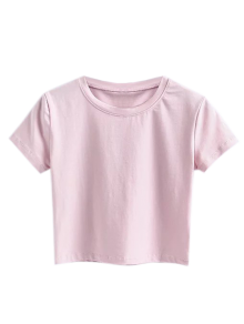 Short Sleeve Mock Neck Cropped Tee - Shallow Pink S