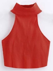 Cropped High Neck Ribbed Top - Red S