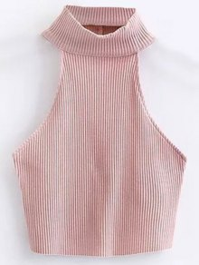 Cropped High Neck Ribbed Top