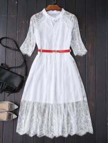 Buttoned Lace Dress With Belt - White