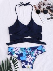 String Floral Panel Bikini Set - Black