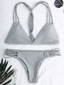 Cutout Strappy Bikini Set - Gray