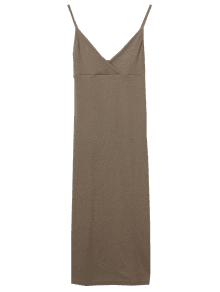 Cami Plunging Neck Surplice Bodycon Dress - Olive Brown S