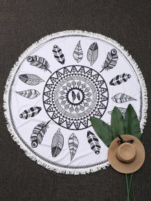 Round Plant Fringed Beach Throw