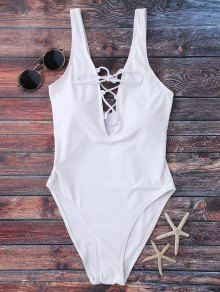 Lace Up Plunging Neck Swimwear - White