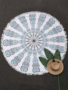 Round Mandala Fringed Beach Throw - White