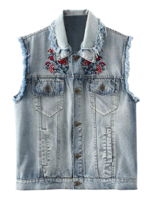 Embroidered Frayed Denim Waistcoat - Cloudy