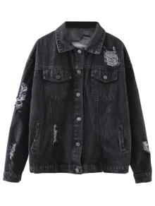 Graphic Distressed Denim Jacket - Black