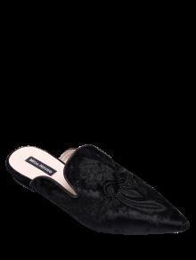 Chaussures Plates En Velours Brodé à Bouts Pointus - Noir
