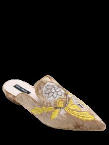 Chaussures Plates En Velours Brodé à Bouts Pointus - Brun