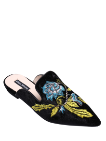 Pointed Toe Embroidered Velvet Flat Shoes - Blue