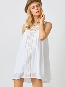 Mini Trapeze Summer Dress - White M