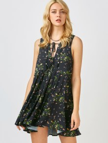 Mini Floral Chiffon Sun Dress - Black