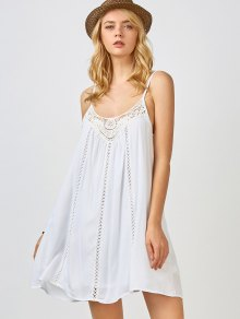 Adjustable Straps Trapeze Slip Dress - White
