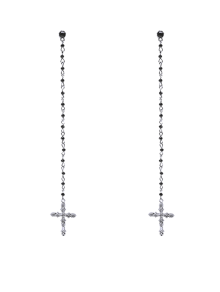 Rhinestone Crucifix Drop Earrings
