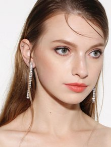 Zircon Strip Drop Earrings