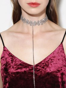 Rhinestone Lariat Choker Necklace