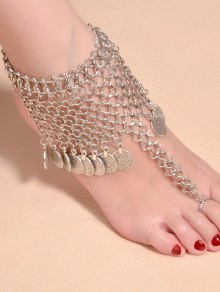 Alloy Coin Fringed Mesh Belly Dance Anklet