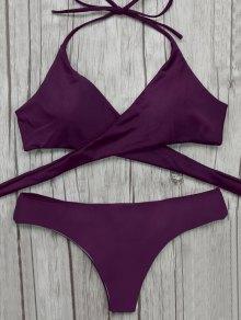 Bikini Envoltura Superior Impresion Barroca Botones  - Merlot