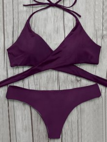 Wrap Bikini Top And Baroque Bottoms - Merlot