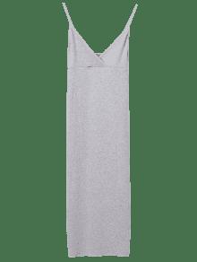 Cami Plunging Neck Surplice Bodycon Dress - Light Gray S