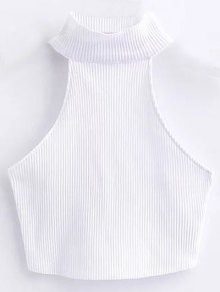 Cropped High Neck Ribbed Top - White M