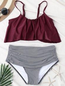 Stripe Panel High Waisted Bikini Set - Wine Red S