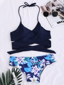 String Floral Panel Bikini Set - Purplish Blue M