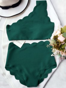 High Waisted Scalloped One Shoulder Bikini - Blackish Green L