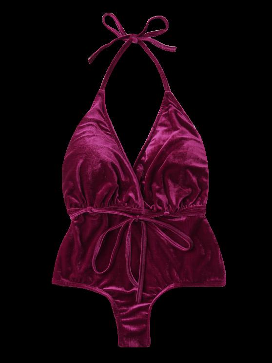 Belted Crushed Velvet Swimwear - CLARET XL Mobile