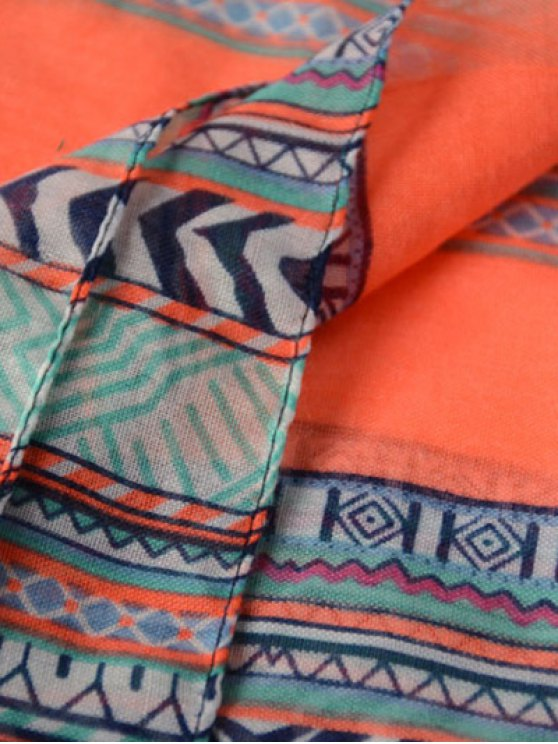 Tassel Geometric Print Scarf - BLUE  Mobile