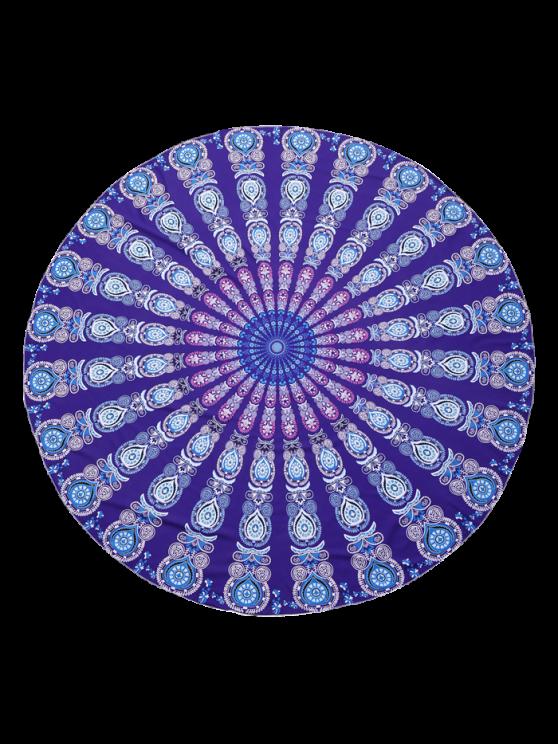 Round Mandala Print Beach Throw - PURPLE ONE SIZE Mobile
