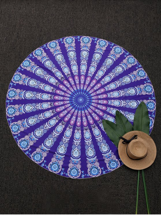 fancy Round Mandala Print Beach Throw - PURPLE ONE SIZE