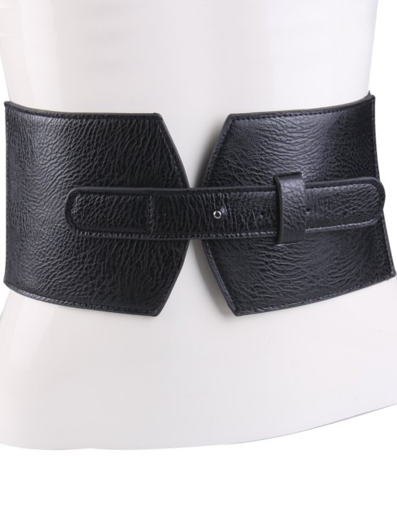 Cover Buckle PU Panel Corset Belt - BLACK  Mobile