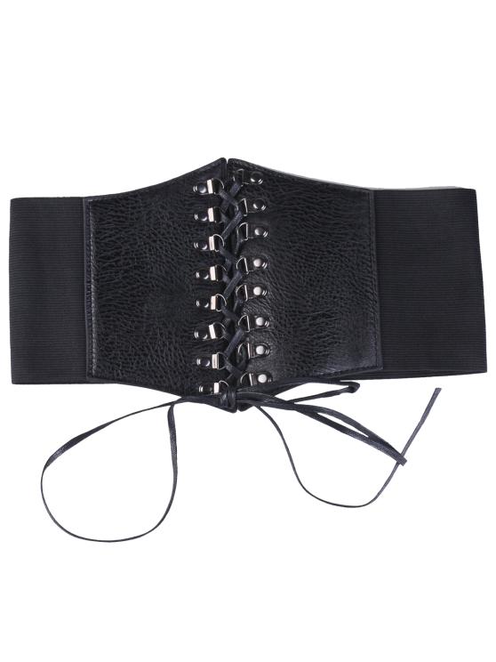 affordable Criss Cross Lace Up Corset Belt - BLACK