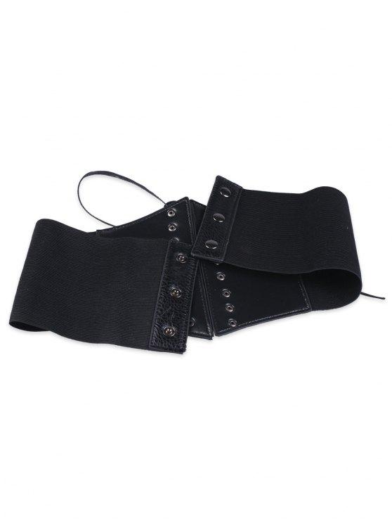 Criss Cross Lace Up Corset Belt - BLACK  Mobile