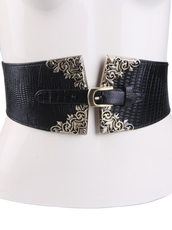 Metal Carve Pin Buckle Corset Belt - BLACK  Mobile