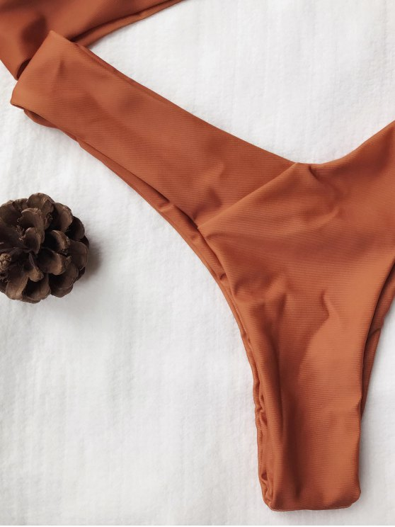 U Neck Bralette Thong Bikini Set - BROWN S Mobile