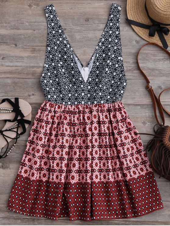 Plunging Neck Printed Mini Dress - MULTICOLOR S Mobile