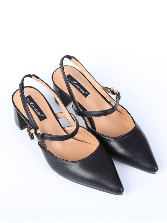 Pointed Toe Chunky Heel Slingback Pumps - BLACK 37 Mobile