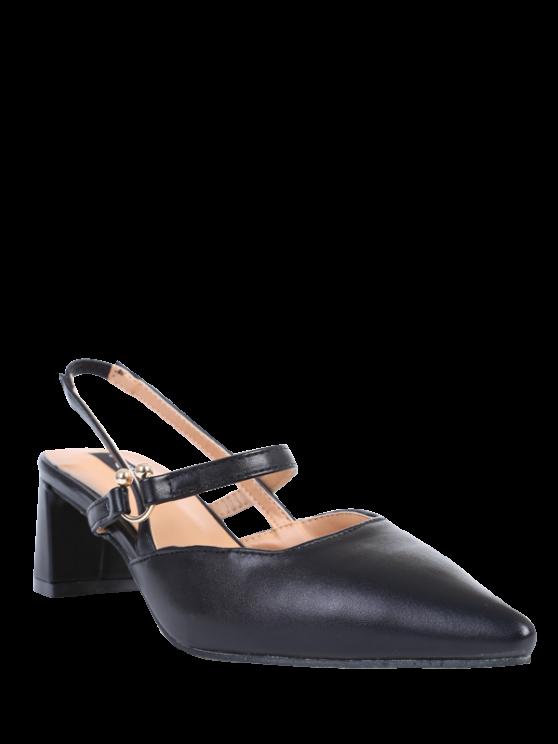 lady Pointed Toe Chunky Heel Slingback Pumps - BLACK 39