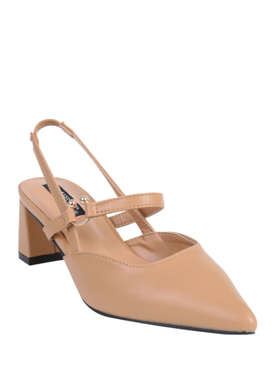 online Pointed Toe Chunky Heel Slingback Pumps - APRICOT 37